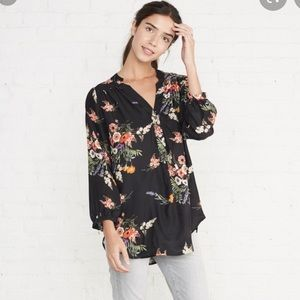 Amour Vert Floral Silk Blouse Like New